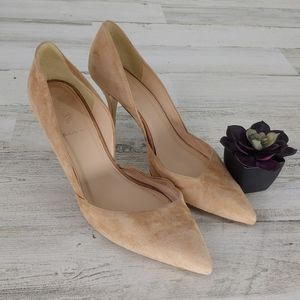 J Crew Suede Tan Pointed Heels